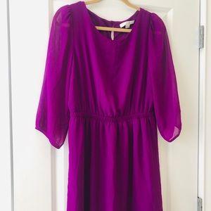 Deep Pink/ Purple Long Sleeve Dress, Size L